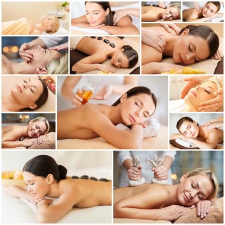 masaje facial: belleza, estilo de vida saludable y el concepto de relajaci�n - collage de muchas fotos con hermosas mujeres j�venes que tienen masaje facial o corporal en el sal�n spa