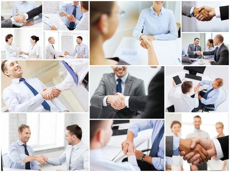 multitud gente: acuerdo de negocios y el concepto de oficina - collage con diferentes personas dándose la mano en la oficina