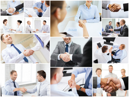 many people: business deal and office concept - collage with many different people shaking hands in office