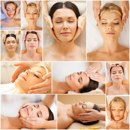 salon treatment: beauty, healthy lifestyle and relaxation concept - collage of many pictures with beautiful young women having facial treatment in spa salon