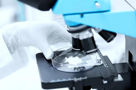 wetenschap, chemie, biologie, geneeskunde en mensen concept - close-up van wetenschapper hand met microscoop en poeder proefmonster maken onderzoek in klinisch laboratorium Stockfoto