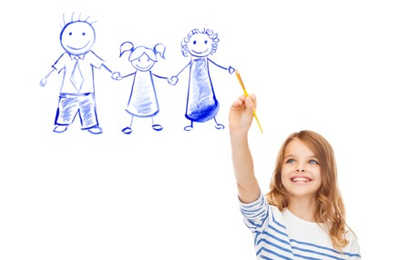 child girl: cute little girl drawing with brush family portrait