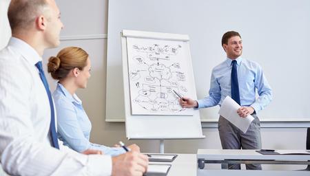 사업, 계획, 사람과 팀워크 개념 - 사무실에서 프리젠 테이션에 미소 기업인 회의의 그룹