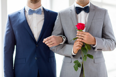 same sex: people, homosexuality, same-sex marriage and love concept - close up of happy male gay couple with red rose flower holding hands on wedding