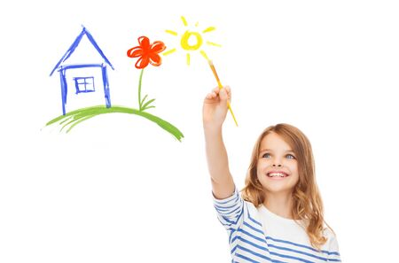 academic touch: education, school and imaginary screen concept - cute little girl drawing house with brush Stock Photo
