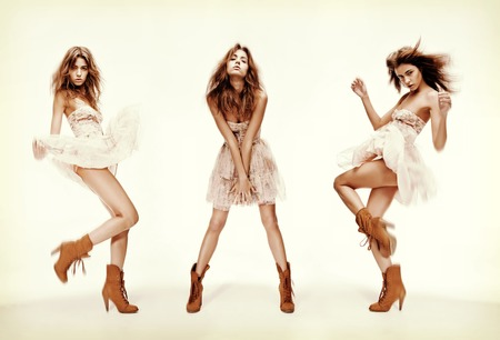 fashion and glamour concept - triple image of the same fashion model in different poses photo