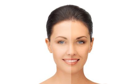 美と健康のコンセプト - 半分の顔と美しい女性の日焼け 写真素材