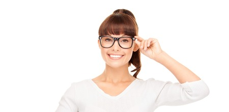 woman eye: happiness, health and vision concept - smiling asian woman adjusting eyeglasses