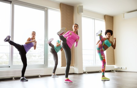 aerobics class: fitness, sport, training, gym and martial arts concept - group of women working out fighting technique in gym