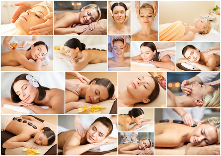 spa collage: beauty, healthy lifestyle and relaxation concept - collage of many pictures with beautiful young women having facial or body massage in spa salon Stock Photo