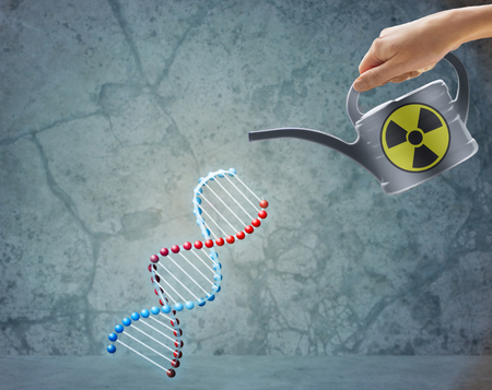 toxin: people, ecology, environment and pollution concept - close up of woman hand holding watering can with toxin or poison and dna molecular structure over gray background Stock Photo