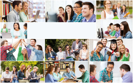 master degree: education concept - collage with many pictures of students in college, university or high school with copyspace