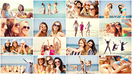 beautiful teen: summer holidays and vacation concept - collage of many pictures with pretty girls having fun on the beach and taking selfie