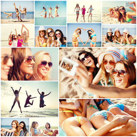 pretty young girl: summer holidays and vacation concept - collage of many pictures with pretty girls having fun on the beach and taking selfie