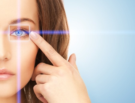 good looks: picture of beautiful woman pointing to eye