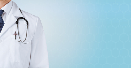Family doctor: medicine, people and health care concept - close up of male doctor with stethoscope over blue background