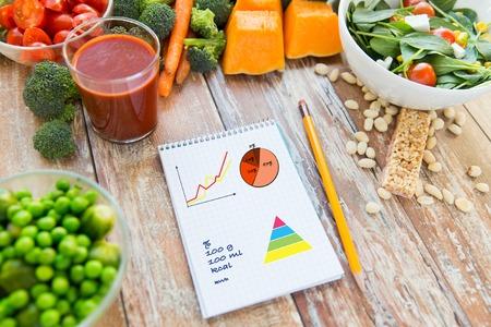 gezond eten, vegetarisch eten, dieet en gewichtscontrole concept - close-up van rijpe groenten en notebook met grafieken en calorieën op houten tafel