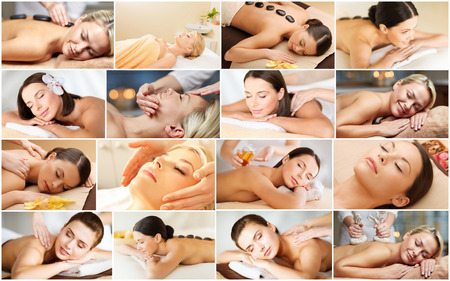 massage oil: beauty, healthy lifestyle and relaxation concept - collage of many pictures with beautiful young women having facial or body massage in spa salon Stock Photo