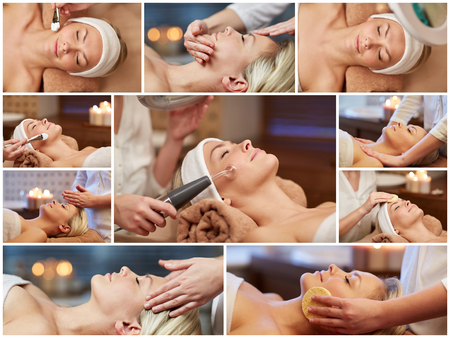 treatments: beauty, healthy lifestyle and relaxation concept - collage of many pictures with beautiful young woman having facial massage and treatments by cosmetologist at spa salon
