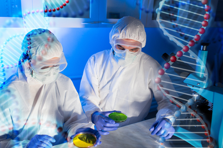 research team: science, chemistry and people concept - close up of scientists with chemical samples in petri dish making test or research at laboratory over dna molecule structure Stock Photo