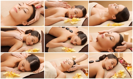 face massage: beauty, healthy lifestyle and relaxation concept - collage of many pictures with beautiful asian woman having facial or body massage in spa salon