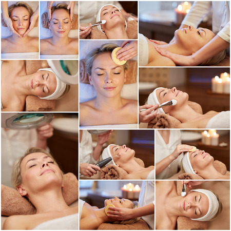facial cleansing: beauty, healthy lifestyle and relaxation concept - collage of many pictures with beautiful young woman having facial massage and treatments by cosmetologist at spa salon