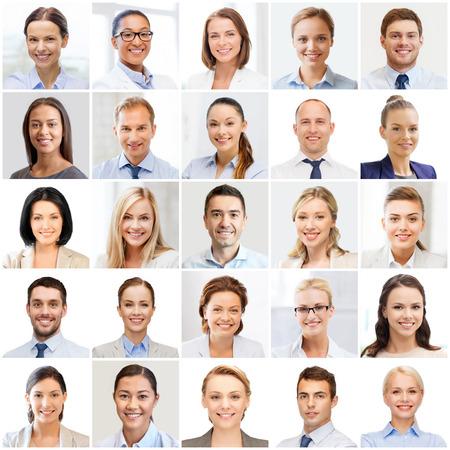 visage homme: succ�s notion - collage avec de nombreux gens d'affaires portraits