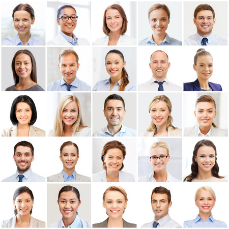 men face: success concept - collage with many business people portraits Stock Photo