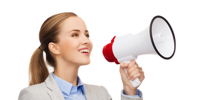 collegue: business, communication and office concept - smiling businesswoman with megaphone