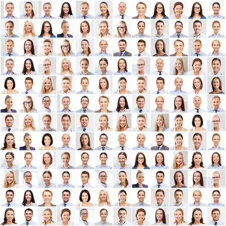 visage: succès notion - collage avec de nombreux gens d'affaires portraits