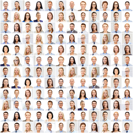 success concept - collage with many business people portraits Stok Fotoğraf