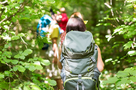 adventure, travel, tourism, hike and people concept - close up of friends walking with backpacks in woods from back Stockfoto