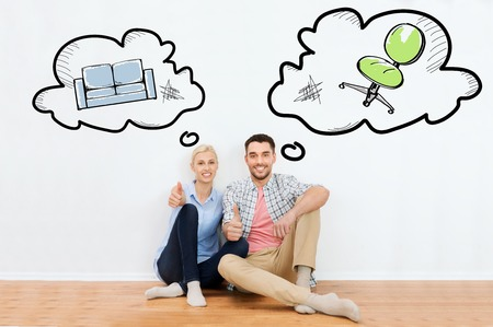 home, people, repair, moving and real estate concept - happy couple sitting on floor and showing thumbs up at new place with text bubbles and furniture doodles Imagens