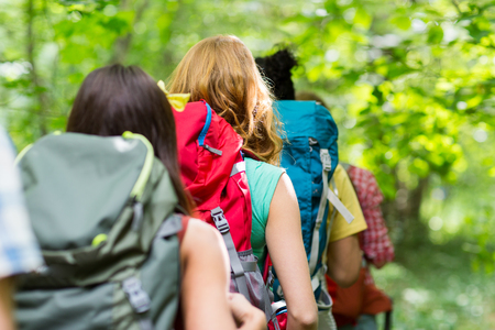 adventure, travel, tourism, hike and people concept - close up of friends walking with backpacks in woods from back Archivio Fotografico