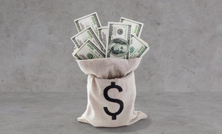 zaken, financiën, investering, besparing en muntconcept - sluit omhoog van dollar papiergeld in zak op banklijst over grijze concrete achtergrond