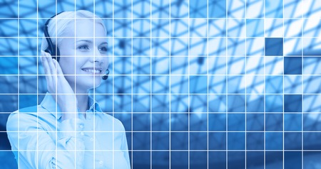 helpline: business, people, technology and communication concept - happy female helpline operator in headset over blue grid background