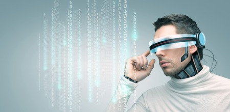people, technology, future and progress - man with futuristic 3d glasses and microchip implant or sensors over gray background over binary system code