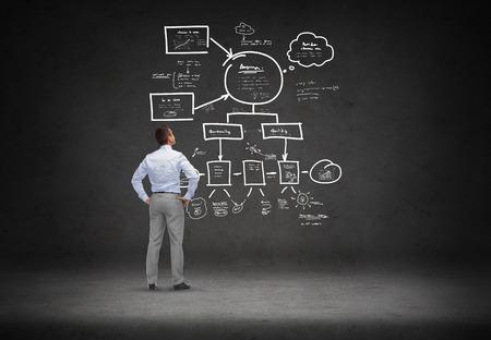 zaken, mensen, het opstarten, planning en strategie concept - zakenman kijken naar schema op concrete ruimte achtergrond van rug Stockfoto