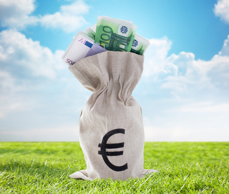 business finance: business, finance, investment, saving and cash concept - close up of euro paper money in bank bag over blue sky and grass background Stock Photo