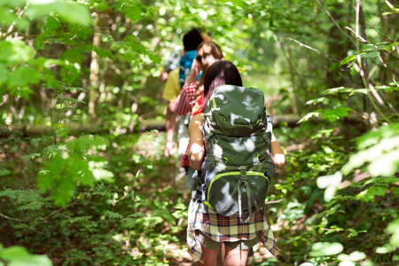 adventure, travel, tourism, hike and people concept - close up of friends walking with backpacks in woods from back Banque d'images