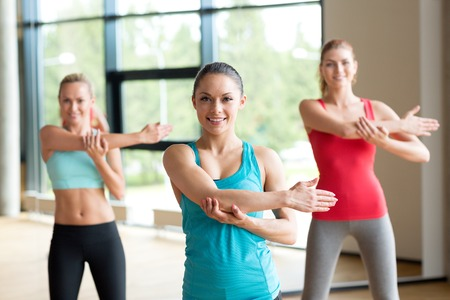aerobics class: fitness, sport, training, gym and lifestyle concept - group of women working out in gym