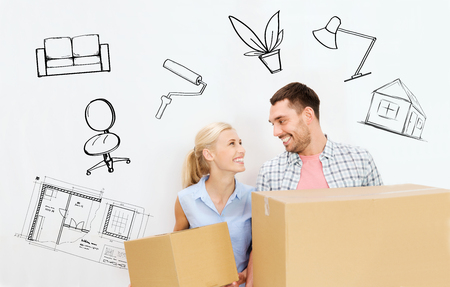 move in: home, people, repair and real estate concept - happy couple holding cardboard boxes and moving to new place over interior doodles background