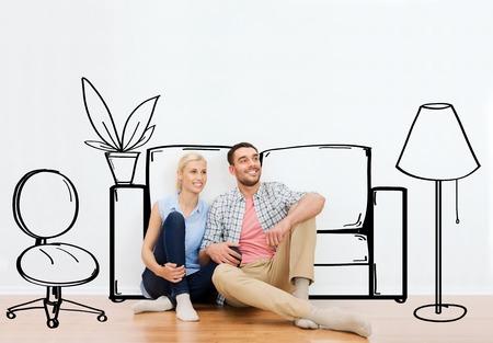zakelijk: mensen, reparatie, bewegen in, interieur en onroerend goed concept - gelukkig paar van man en vrouw, zittend op de vloer in nieuw huis meer dan meubilair cartoon of schets achtergrond Stockfoto