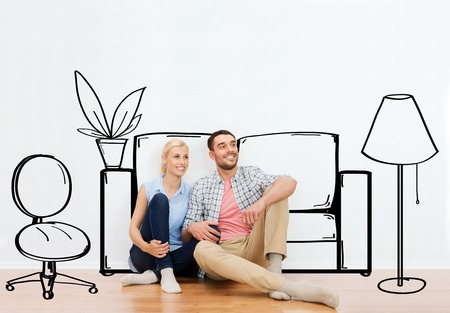 real estate planning: people, repair, moving in, interior and real estate concept - happy couple of man and woman sitting on floor at new home over furniture cartoon or sketch background