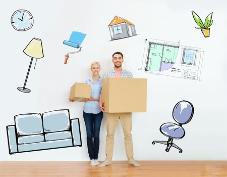 house moving: home, people, repair and real estate concept - happy couple holding cardboard boxes and moving to new place over interior doodles background