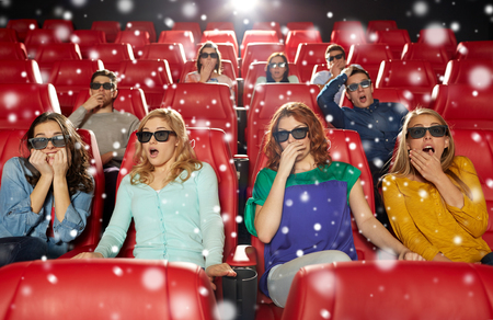 christmas movies: cinema, technology, entertainment and people concept - friends with 3d glasses watching horror or thriller movie in theater over snowflakes