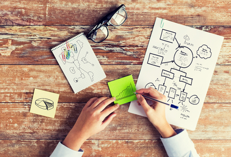planificacion: negocios, educación, planificación, estrategia y concepto de la gente - cerca de las manos dibujando esquemas y tabla en hojas de papel en la mesa Foto de archivo