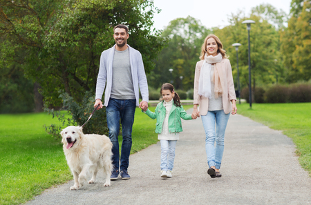family in park: family, pet, domestic animal and people concept - happy family with labrador retriever dog walking  in summer park