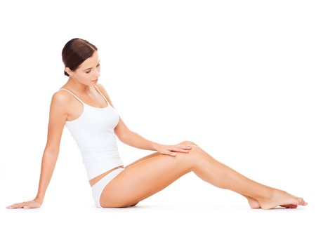 health woman: health and beauty concept - beautiful woman in white cotton underwear