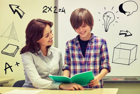 learning: school boy holding notebook and teacher in classroom with doodles